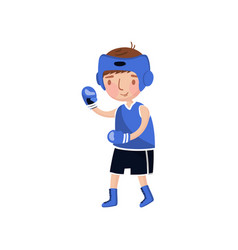 little boy boxer in blue uniform and boxing gloves vector image