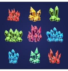 Magic crystals icons set vector