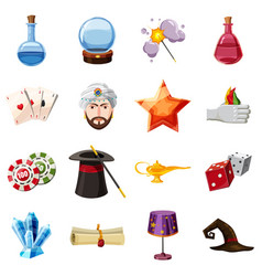 magician icons set items cartoon style vector image vector image