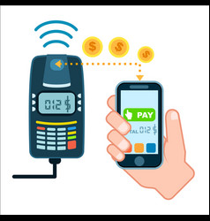 Mobile payment concept with pos terminal vector