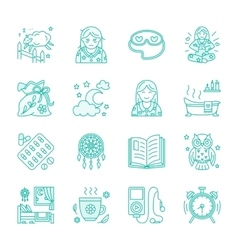 Modern line icon of insomnia problem and vector image