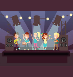 Music show with kids band playing rock on stage vector