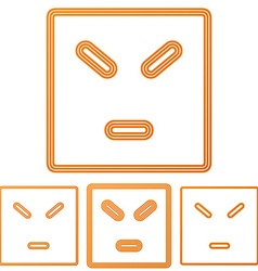 Orange line anger logo design set vector