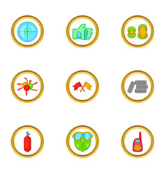 Paintball accessories icons set cartoon style vector