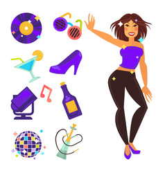 Party night club and dancing girl flat vector