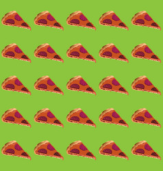 Pieces of pizza with sausage and melted cheese on vector