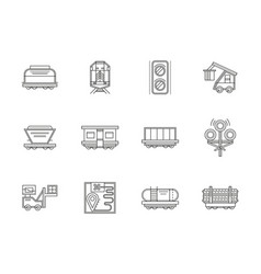 Railroad traffic and cars flat line icons vector
