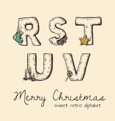 Retro christmas alphabet - r s t u v vector
