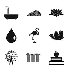 Roadside icons set simple style vector
