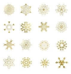 Set of beautiful different snowflakes isolated on vector image