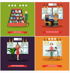 set of radio posters banners in flat style vector image vector image