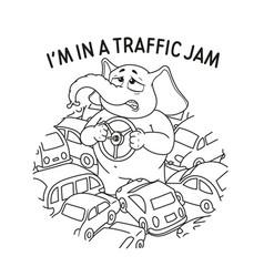 Standing in a traffic jam steering wheel in hands vector