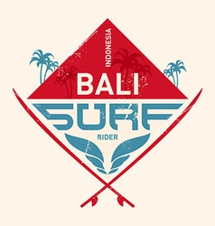 Surfing vintage lable with waves palm and vector image