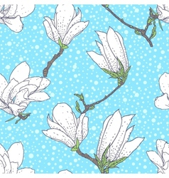 Vintage pattern with magnolia flowers vector