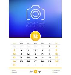 Wall calendar template for 2017 year december vector