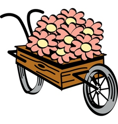 Wheel barrel flowers vector image vector image
