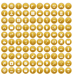100 help icons set gold vector