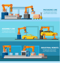 Industrial automated manufacturing banners vector