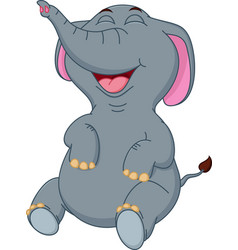 happy elephant cartoon sitting vector image