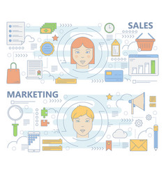 Set of thin line sales and marketing vector
