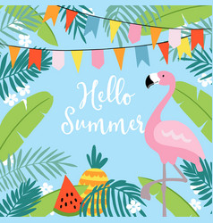 hello summer greeting card invitation vector image