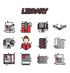 Library flat icons set vector