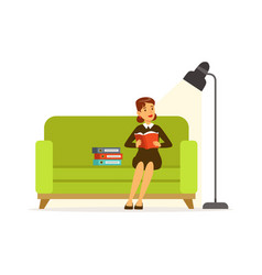 Young woman sitting on a green sofa reading a vector