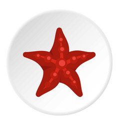 Red starfish icon circle vector