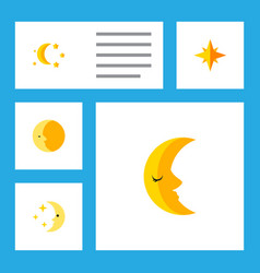 Flat icon bedtime set of moon nighttime bedtime vector