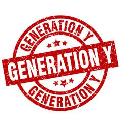 Generation y round red grunge stamp vector