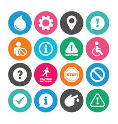 Set of attention information and caution icons vector