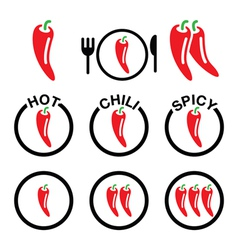 Red hot chili peppers icons set vector