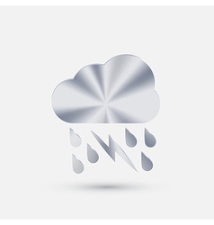 Steel icon cloud rain lightning vector