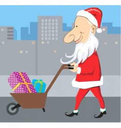 Santa and wheel barrow vector