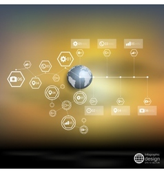 Globe world blurred infographic template for vector