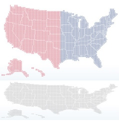 Map of united states of america with with dot vector