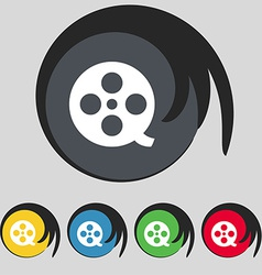 Film icon sign symbol on five colored buttons vector