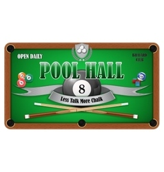 Billiard poster pool hall - eight ball vector