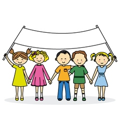 Children friends with a banner vector