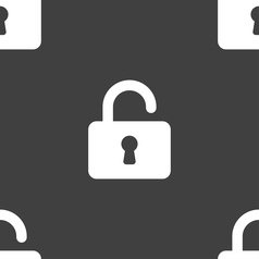 Open padlock icon sign seamless pattern on a gray vector
