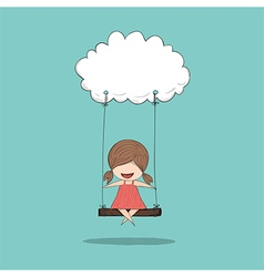 Cartoon girl swinging on a cloud drawing by hand vector