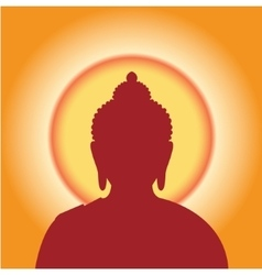 Silhouette buddha against the sun vector