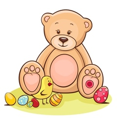 Teddy and easter chicken with eggs vector
