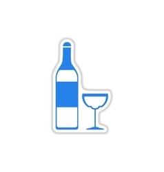 Paper sticker on white background wine bottle vector