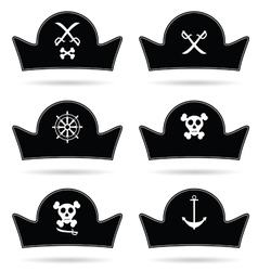Pirate hat set in black vector