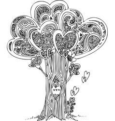 Black and white tree of love vector image vector image