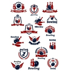 Bowling club or tournament icons and symbols vector image