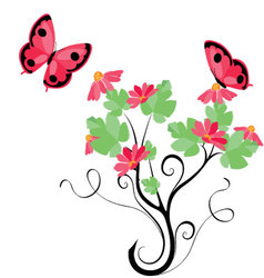 butterflies and flowers 12 vector image vector image