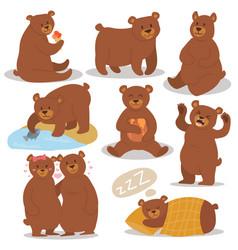Cartoon bear character different pose set vector