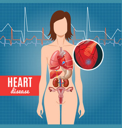 cartoon heart disease poster vector image